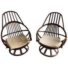 Mid-Century Modern Italian Pair of Dark Bamboo Armchairs, 1970s