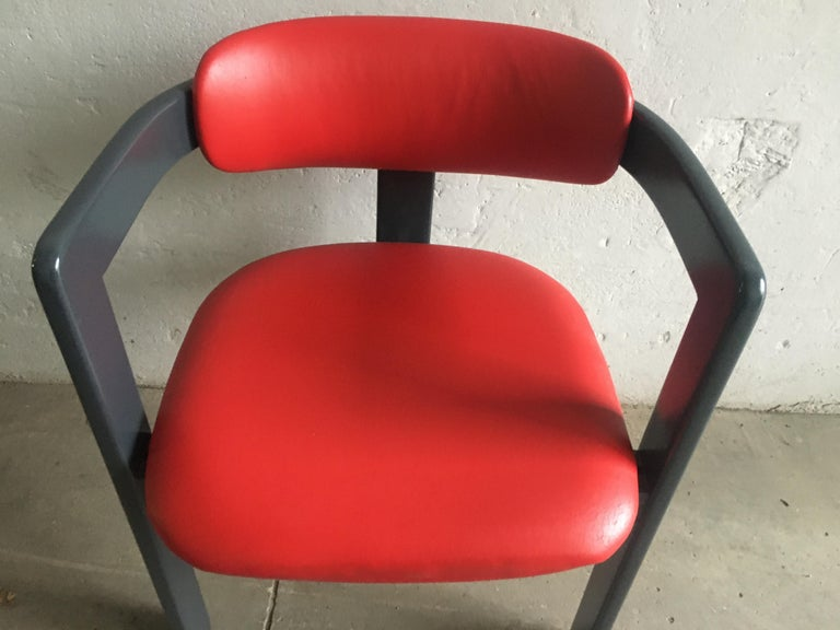 Wood Mid-Century Modern Italian Pair of Faux Leather Chairs. 1970s For Sale