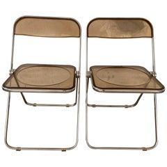 Mid-Century Modern Italian Pair of Giancarlo Piretti Lucite 'Plia' Chairs, 1970s