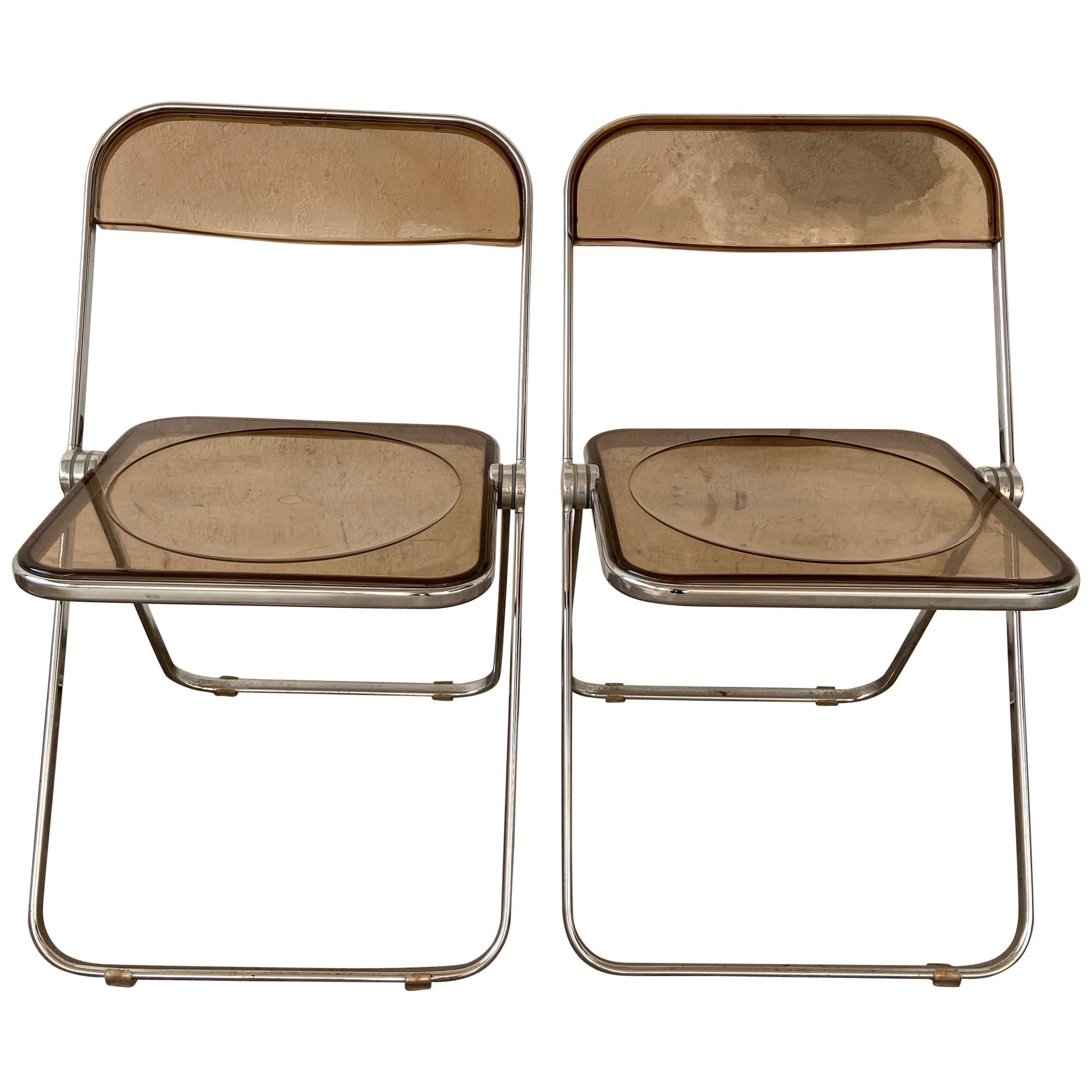 "Mid-Century Modern Italian Pair of Giancarlo Piretti ""Plia"" Folding Chairs 1970s"