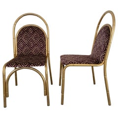 Mid-Century Modern Italian Pair of Gilt Metal Faux Bamboo Chairs, 1970s