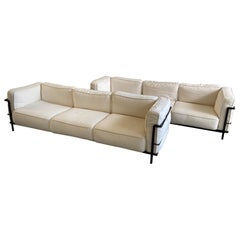 Mid-Century Modern Italian Pair of Le Corbusier LC3 Style Triple-Seat Sofas