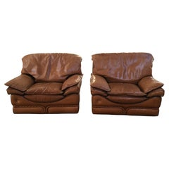 Mid-Century Modern Italian Pair of Leather Armchairs by Mobilificio Colombo