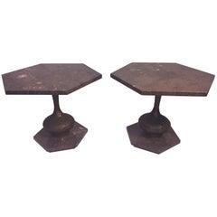 Mid-Century Modern Italian Pair of Marble and Brutalist Metal Side Tables