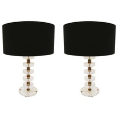 Mid-Century Modern Italian Pair of Murano Glass and Brass Table Lamps