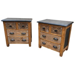 Mid-Century Modern Italian Pair of Nightstands Made with Old Drawers, 1950s