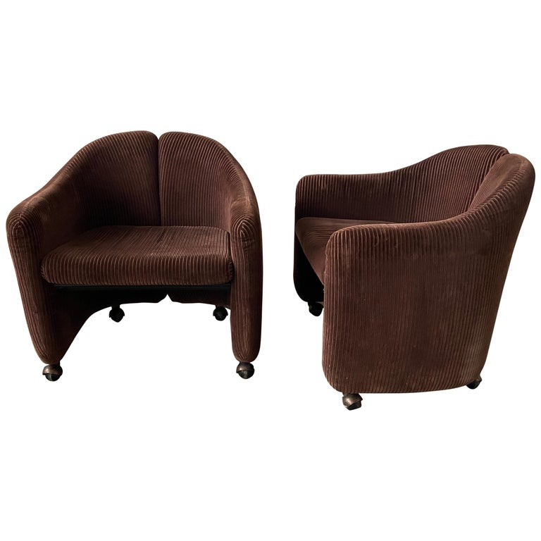 """Mid-Century Modern Italian Pair of """"PS142"""" Armchairs by Eugenio Gerli for Tecno For Sale"""