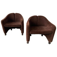 Mid-Century Modern Italian Pair of PS142 Armchairs by Eugenio Gerli for Tecno