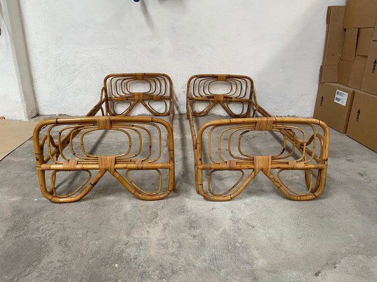 Mid-Century Modern Italian Pair of Single Bamboo Day Bed, 1960s In Good Condition For Sale In Prato, IT