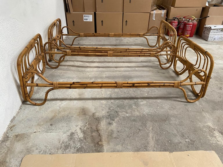 Mid-Century Modern Italian Pair of Single Bamboo Day Bed, 1960s For Sale 1