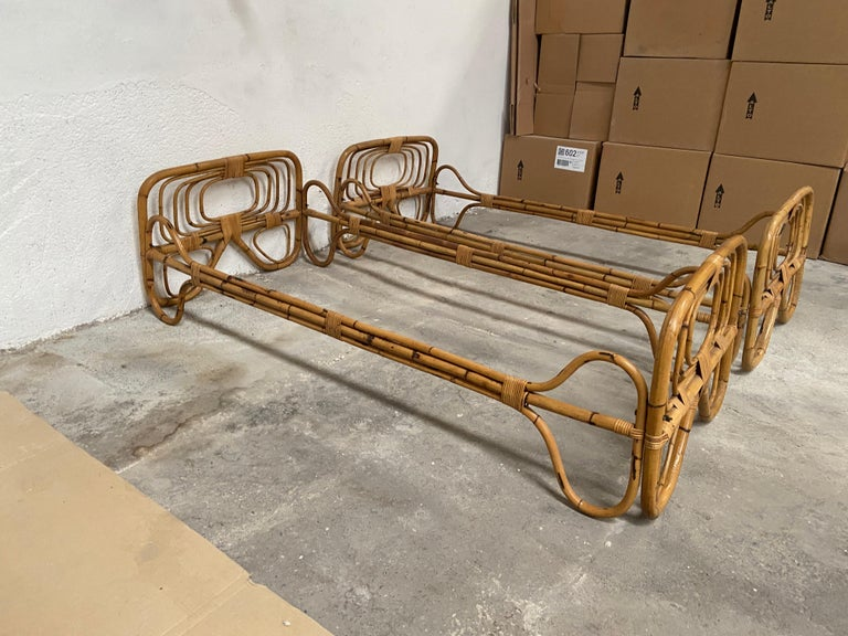 Mid-Century Modern Italian Pair of Single Bamboo Day Bed, 1960s For Sale 2