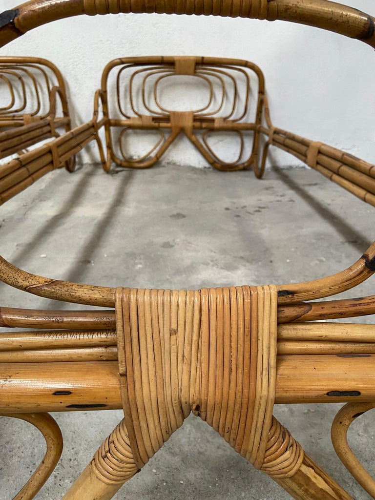 Mid-Century Modern Italian Pair of Single Bamboo Day Bed, 1960s For Sale 5