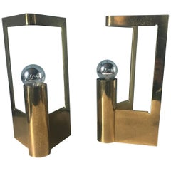 Mid-Century Modern Italian Pair of Solid Brass Table Lamps from 1960s