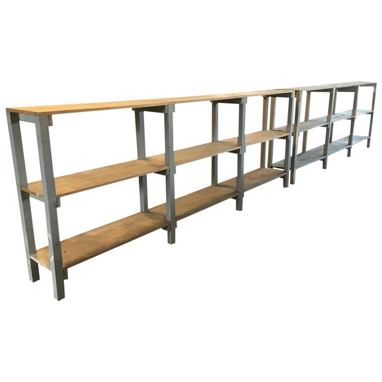Mid-Century Modern Italian Pair of Spruce Painted Wood Industrial Shelving Units For Sale