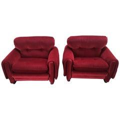 Mid-Century Modern Italian Pair of Velvet Armchairs, 1970s