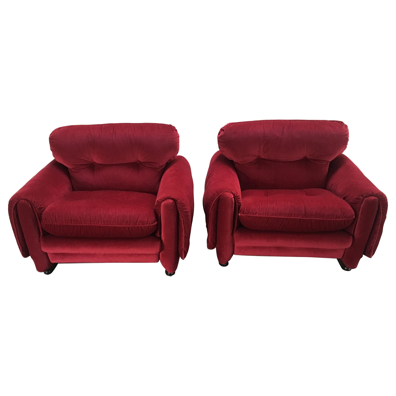 Mid-Century Modern Italian Pair of Velvet Armchairs with Original Fabric, 1970s