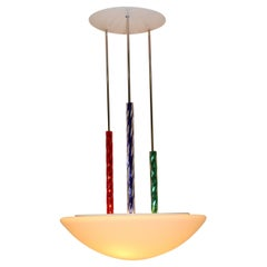 Mid-Century Modern Pendant Lamp Murano White Glass with Multi-Color Accents