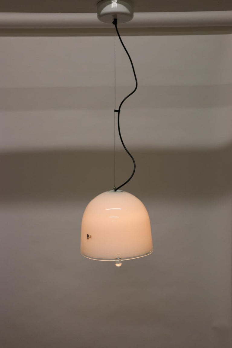 Mid-Century Modern Italian Pendant Light Murano White Glass with Crystal Accents 2