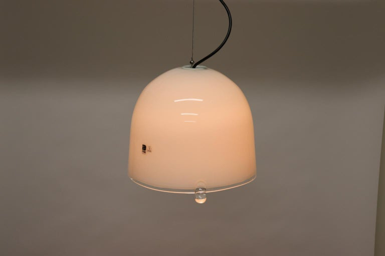 Mid-Century Modern Italian Pendant Light Murano White Glass with Crystal Accents 5