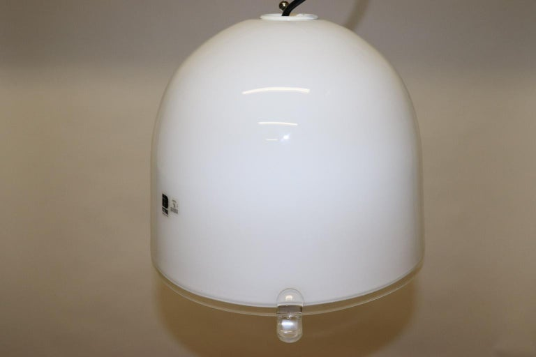Mid-Century Modern Italian Pendant Light Murano White Glass with Crystal Accents 7