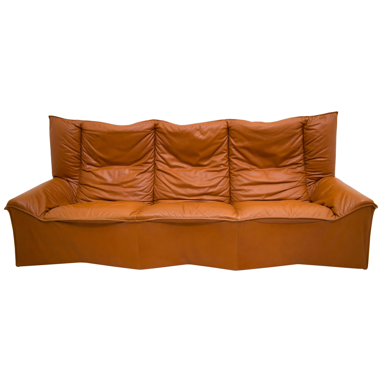 Mid Century Modern Italian Real Leather Sofa By Cinova 1964s