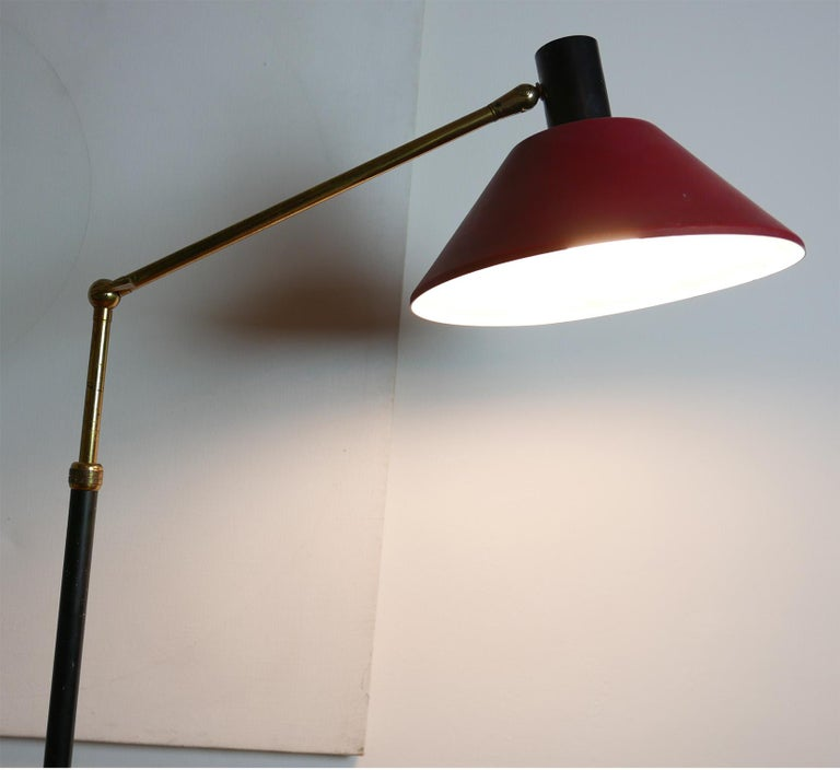 Mid-20th Century Mid-Century Modern Italian Red Stilux Floor Lamp, Milano, 1950s For Sale