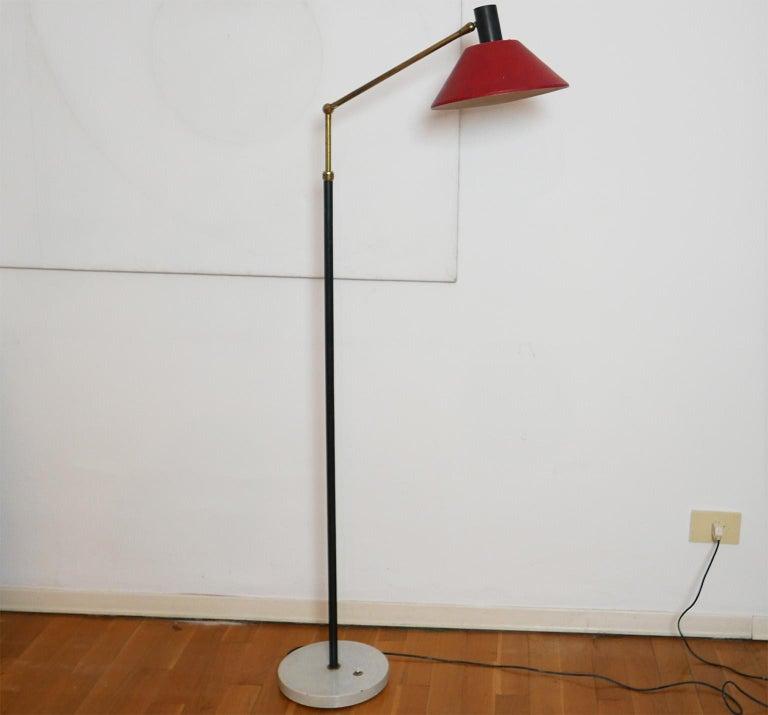 Mid-Century Modern Italian Red Stilux Floor Lamp, Milano, 1950s For Sale 3
