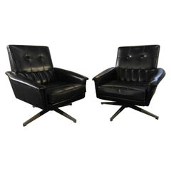 Mid-Century Modern Italian Revolving Office Black Faux Leather Armchairs, 1960s