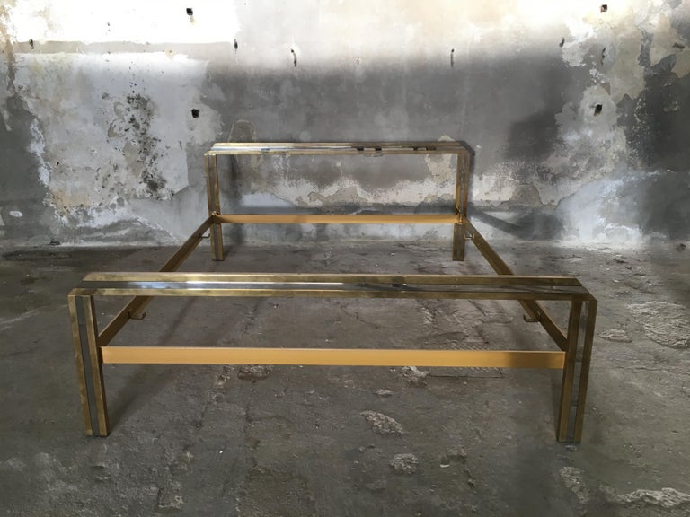 Mid-Century Modern Italian Romeo Rega Brass and Chrome Double Bed, 1970s In Good Condition For Sale In Prato, IT