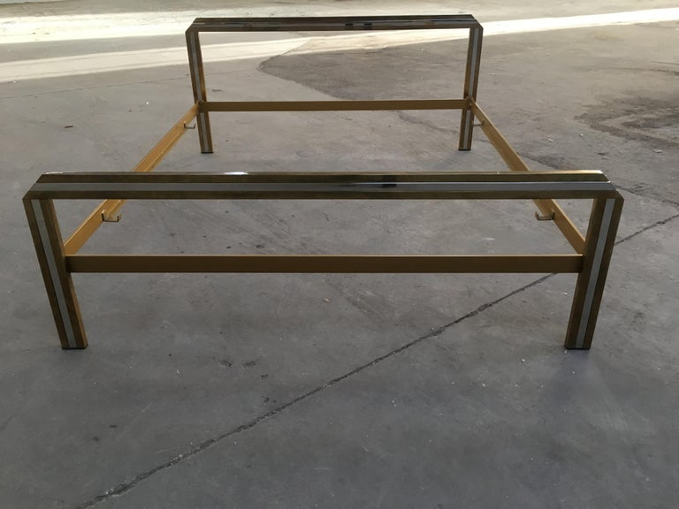 Late 20th Century Mid-Century Modern Italian Romeo Rega Brass and Chrome Double Bed, 1970s For Sale