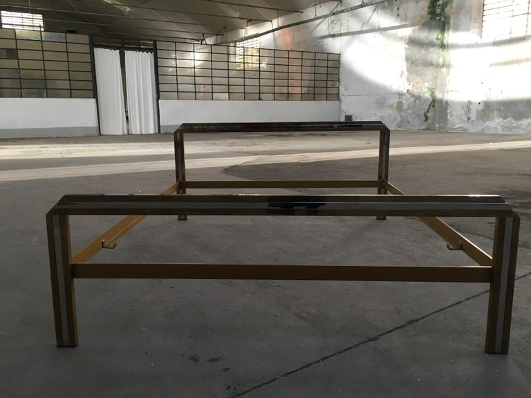 Mid-Century Modern Italian Romeo Rega Brass and Chrome Double Bed, 1970s For Sale 1