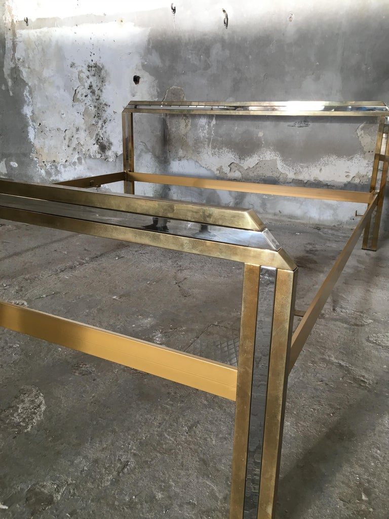 Mid-Century Modern Italian Romeo Rega Brass and Chrome Double Bed, 1970s For Sale 2