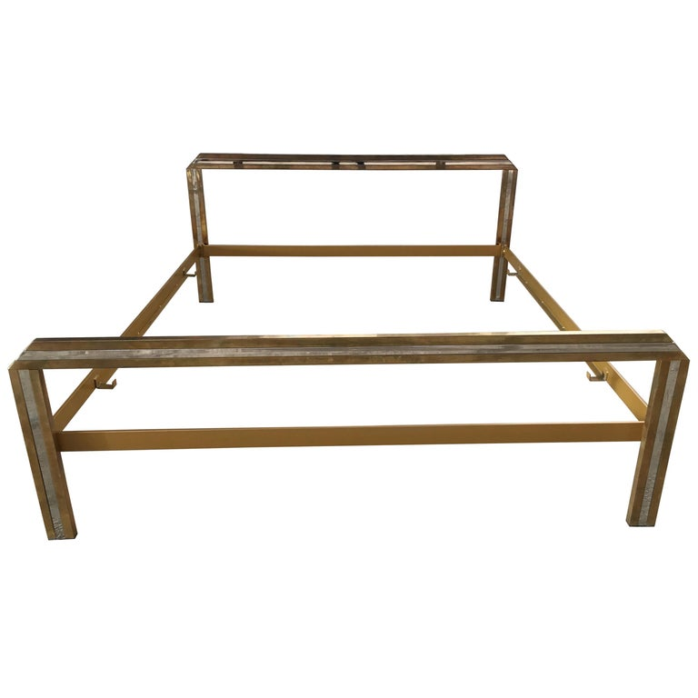 Mid-Century Modern Italian Romeo Rega Brass and Chrome Double Bed, 1970s For Sale