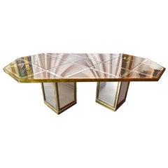Mid-Century Modern Italian Romeo Rega Brass, Chrome & Mirror Dining Table / Desk