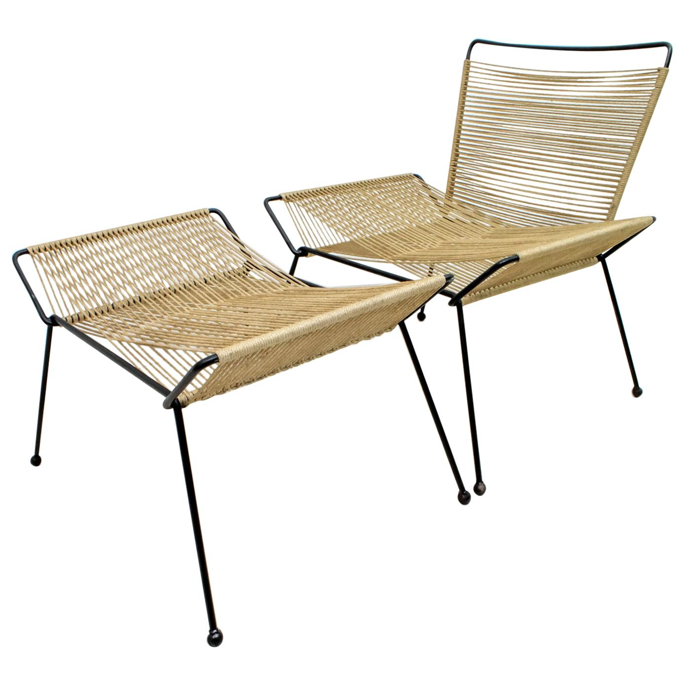 Mid-Century Modern Italian Rope Armchair and Footrest, 1960s