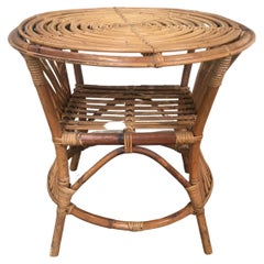 Mid-Century Modern Italian Round Bamboo and Wicker Side Table, 1970s