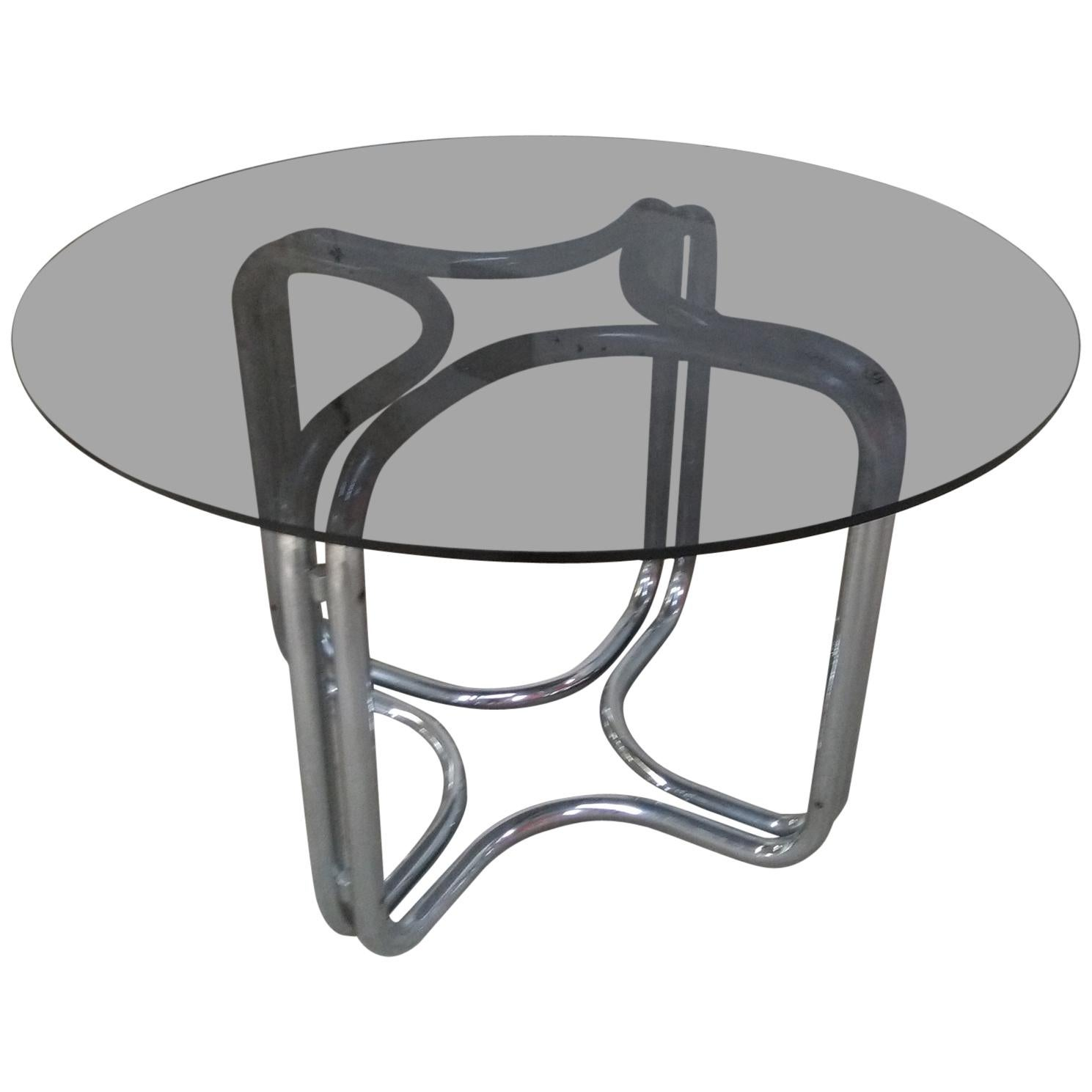 Mid-Century Modern Italian Round Chrome Dining Table by Giotto Stoppino, 1970s