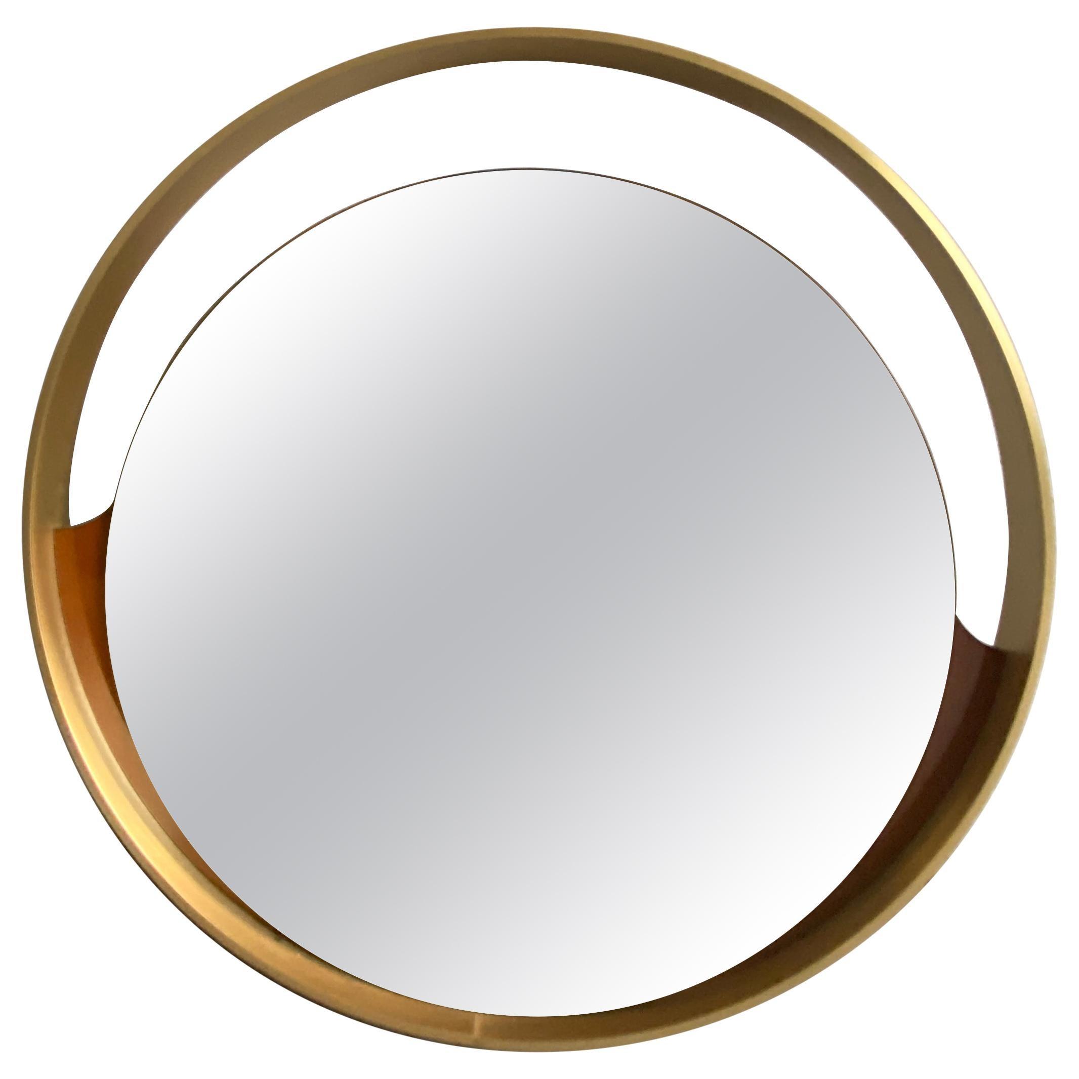 Mid-Century Modern Italian Round Gold Mirror with Gilt Metal Frame, 1970s