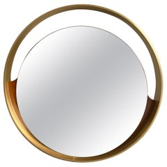 Mid-Century Modern Italian Round Gold Mirror with Gilt Metal Frame, 1970s