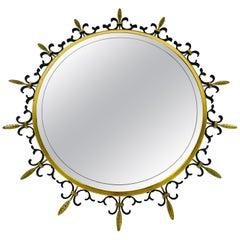 Mid-Century Modern Italian Round Illuminated Brass Wall Mirror, Italy, 1960s