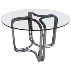 Mid-Century Modern Italian Round Table by Giotto Stoppino, 1970s