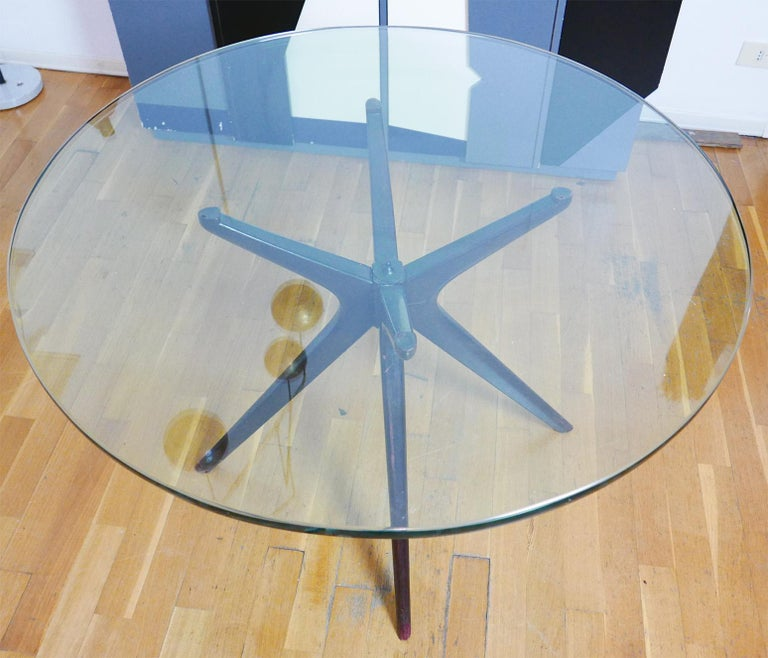Turned Mid-Century Modern Italian Round Wood Table with Thick Glass Top, Milano, 1950s For Sale