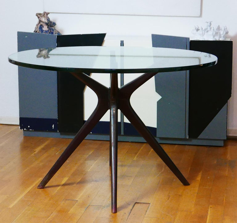 Mid-20th Century Mid-Century Modern Italian Round Wood Table with Thick Glass Top, Milano, 1950s For Sale