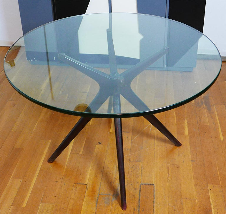 Mid-Century Modern Italian Round Wood Table with Thick Glass Top, Milano, 1950s For Sale 3