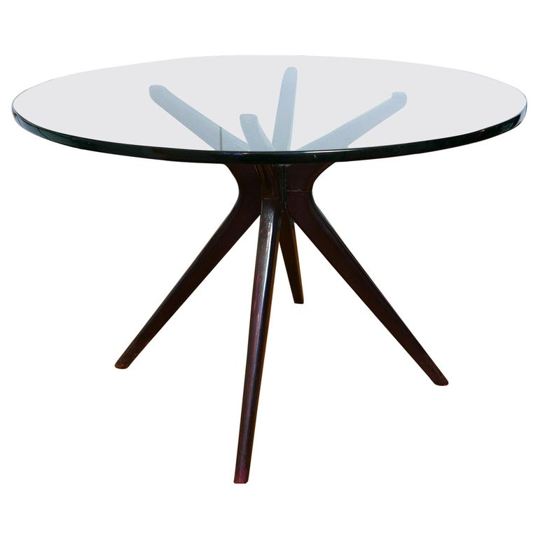 Mid-Century Modern Italian Round Wood Table with Thick Glass Top, Milano, 1950s For Sale