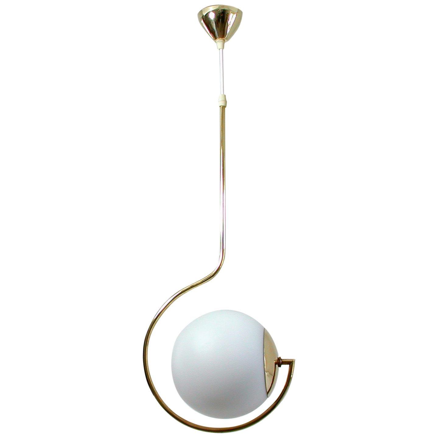 Mid-Century Modern Italian Satinated Glass and Brass Pendant Chandelier, 1950s