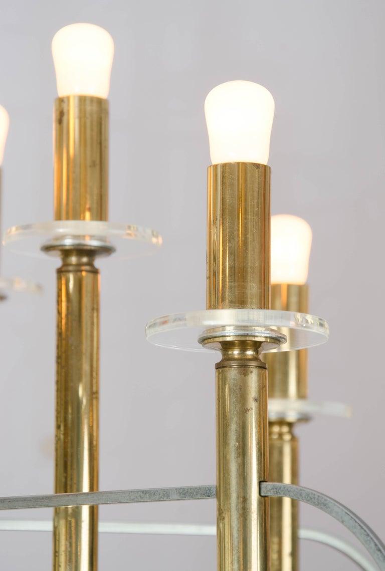Mid-Century Modern Brass and Nickel Sputnik Chandelier by Sciolari Italy 1960's For Sale