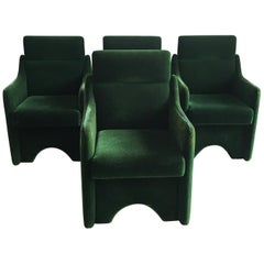Mid-Century Modern Italian Set of 4 Armchairs by Luigi Caccia Dominoni, 1970s