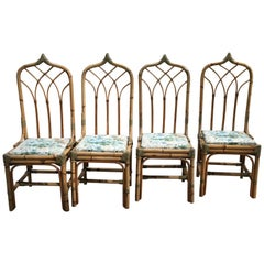 Mid-Century Modern Italian Set of 4 Bamboo and Leather Dining Chairs, 1970s