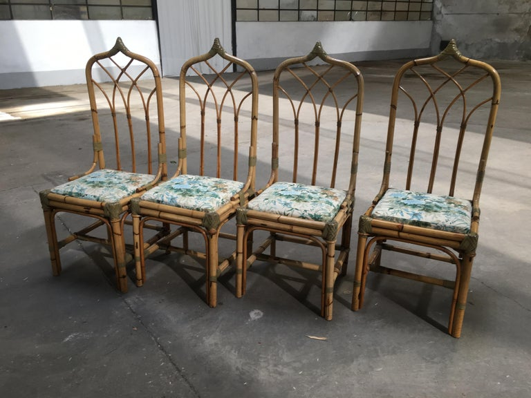 Mid-Century Modern Italian Set of 4 Bamboo Dining Chairs, 1970s In Good Condition For Sale In Prato, IT